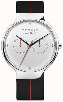 Bering Max rené | pulseira de borracha preta | mostrador prateado 15542-404