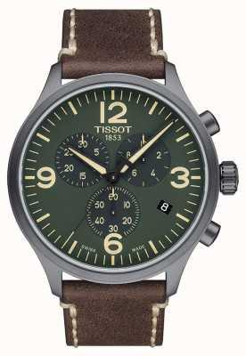 Tissot Chrono xl | mostrador verde | pulseira de couro marrom T1166173609700