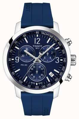 Tissot Prc 200 | cronógrafo | mostrador azul | pulseira de borracha azul T1144171704700