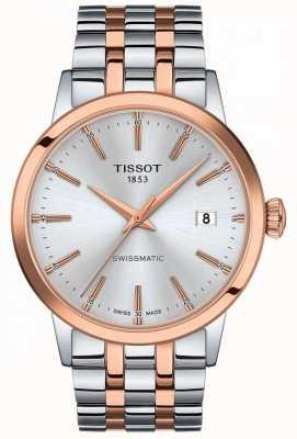 Tissot Swissmatic   mostrador prateado   pulseira de aço inoxidável de dois tons T1294072203100