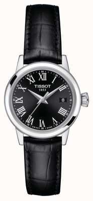 Tissot Mulheres   sonho clássico   mostrador preto   pulseira de couro preta T1292101605300