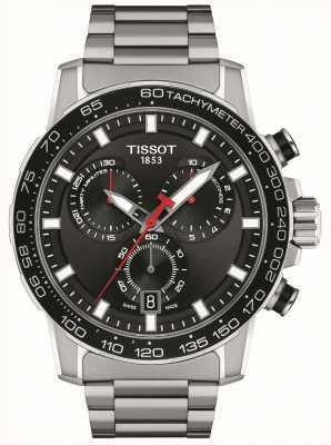 Tissot Supersport chrono | mostrador preto | pulseira de aço inoxidável T1256171105100