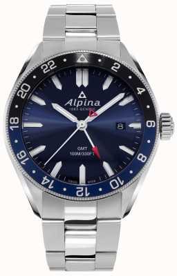 Alpina Alpiner quartzo gmt | mostrador azul | pulseira de aço inoxidável AL-247NB4E6B