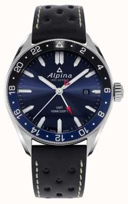 Alpina Alpiner quartzo gmt | mostrador azul | pulseira de couro preto AL-247NB4E6