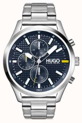 HUGO # Compra masculina | mostrador azul | relógio de aço inoxidável 1530163