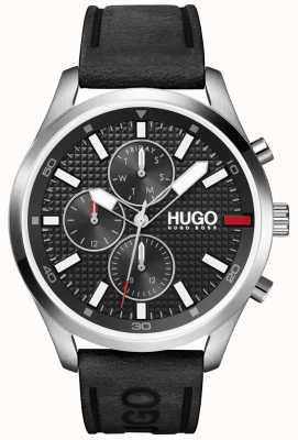 HUGO # Compra masculina | mostrador preto | relógio de pulseira de couro preto 1530161