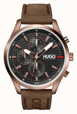 HUGO #Chase ip rosa-ouro masculino | mostrador preto | relógio de pulseira de couro marrom 1530162
