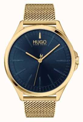 HUGO #Smash masculino casual | mostrador azul | pulseira de malha ip ouro 1530178