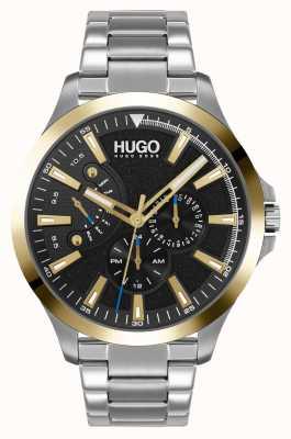 HUGO #leap casual | mostrador preto | pulseira de aço inoxidável 1530174