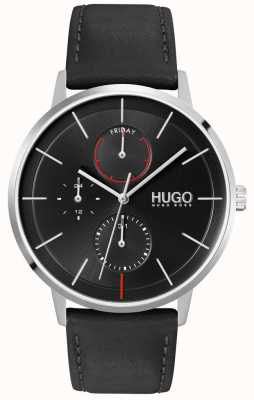 HUGO #exist | mostrador preto | multifuncional | relógio de pulseira de couro preto 1530169