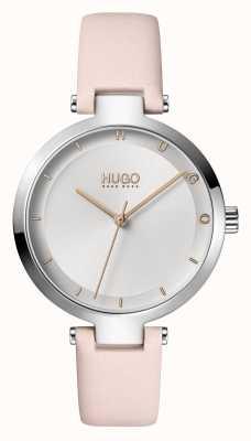 HUGO Senhoras #esperança casual | mostrador prateado | pulseira de couro blush 1540074