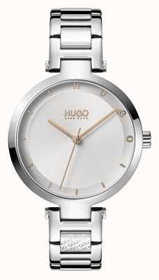 HUGO Senhoras #esperança casual | mostrador prateado | pulseira de aço inoxidável 1540076