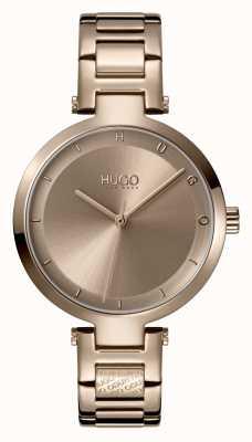 HUGO Senhoras #esperança casual | mostrador bege | pulseira de aço ip bege 1540077