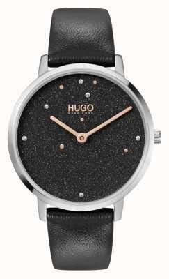 HUGO # negócio de sonho | mulheres | pulseira de couro preta | mostrador de cristal preto 1540068