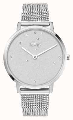 HUGO # negócio de sonho | mulheres | pulseira em malha de aço | mostrador de cristal 1540066