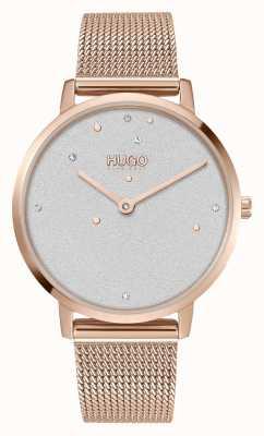 HUGO #dream | mulheres | pulseira em malha de ouro rosa | mostrador de cristal 1540067