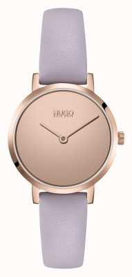 HUGO Feminino #cherish casual | rosa espelho dial | pulseira de couro lilás 1540083