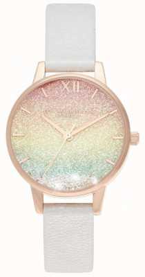 Olivia Burton | onda desejando arco-íris | dial glitter | pulseira de couro | OB16EX228