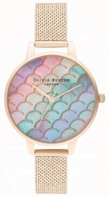 Olivia Burton Relógio de malha boucle em ouro rosa com cauda de sereia com mostrador demi OB16US45
