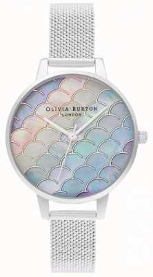 Olivia Burton Relógio de malha boucle prateado com mostrador demi de cauda de sereia OB16US46