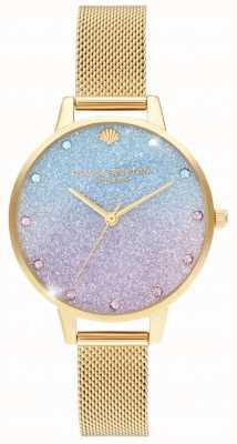 Olivia Burton Glitter ombre demi dial marcadores de brilho malha de ouro OB16US48