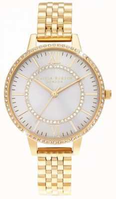 Olivia Burton Wonderland blush demi dial relógio de ouro OB16WD90