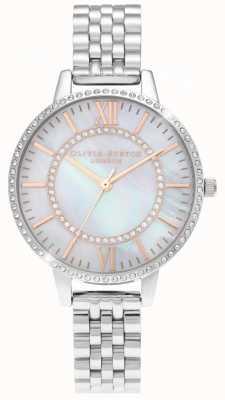 Olivia Burton Mãe do país das maravilhas de pérola demi dial relógio de prata OB16WD91