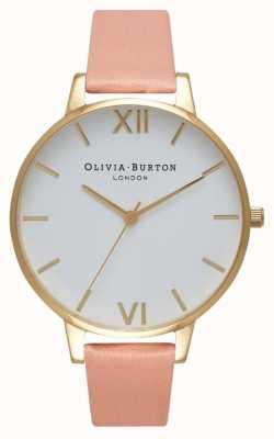 Olivia Burton Mostrador branco empoeirado rosa e relógio de ouro OB16BDW13