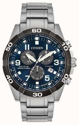 Citizen Brycen super titânio, relógio com mostrador azul e calendário perpétuo BL5558-58L