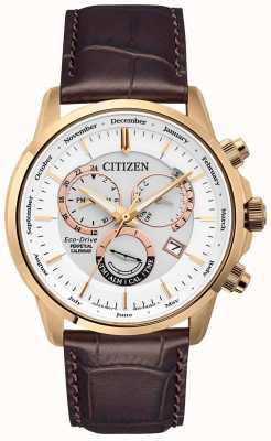 Citizen Calibre 8700 relógio perpétuo do calendário | pulseira de couro marrom BL8153-11A
