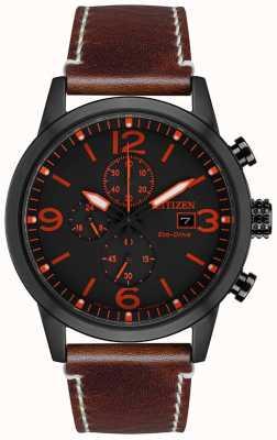 Citizen Relógio masculino com pulseira de couro marrom ip marrom esporte eco-drive CA0617-11E