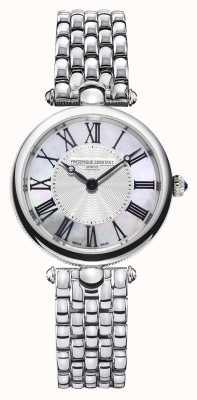 Frederique Constant Art déco feminino | pulseira de aço inoxidável | madrepérola FC-200MPW2AR6B
