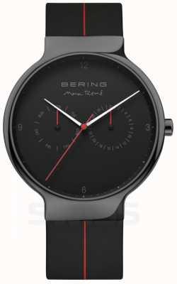 Bering Rene max masculino | pulseira de silicone preta | mostrador preto 15542-423
