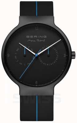 Bering Rene max masculino   pulseira de silicone preta   mostrador preto / azul 15542-428