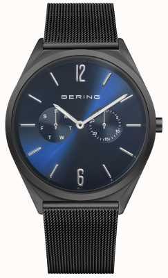Bering Ultra slim | pulseira em malha de aço preta | mostrador azul 17140-227