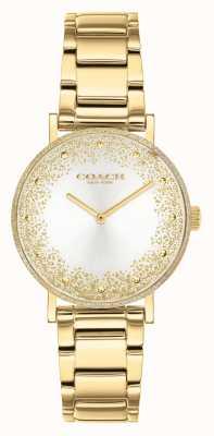 Coach Perada das mulheres | pulseira de aço banhado a ouro | mostrador prateado 14503638