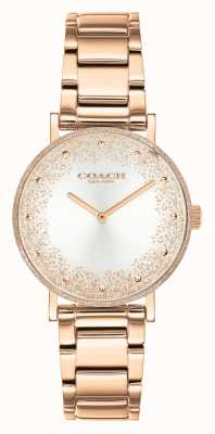 Coach Perada das mulheres | pulseira de aço ouro rosa | mostrador prateado 14503639