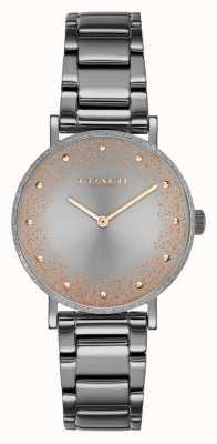 Coach Perada das mulheres | pulseira de aço pvd cinza | mostrador cinza 14503640