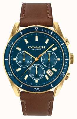 Coach Preston dos homens | pulseira de couro marrom | mostrador azul 14602513