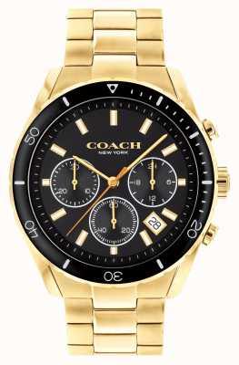 Coach Preston dos homens | pulseira de aço banhado a ouro | mostrador preto 14602517
