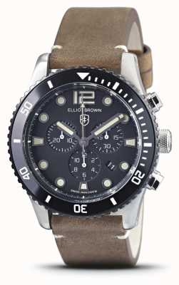 Elliot Brown Bloxworth | pulseira de couro marrom vintage | mostrador preto 929-016-L21