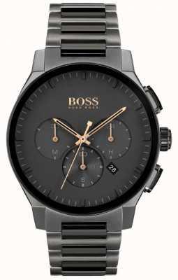 BOSS Pico dos homens | pulseira ip de aço inoxidável cinza | mostrador cinza 1513814