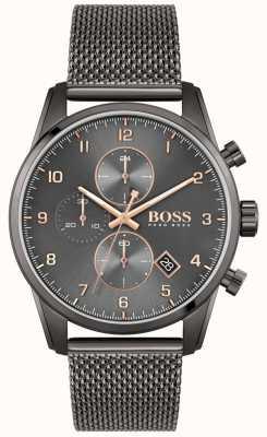 BOSS Skymaster sport lux   pulseira em malha ip preta   mostrador preto 1513837