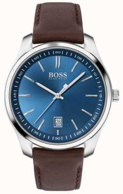 BOSS Circuito esporte lux   pulseira de couro marrom   mostrador azul 1513728