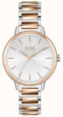 BOSS Assinatura feminina | pulseira de aço bicolor | mostrador prateado 1502567