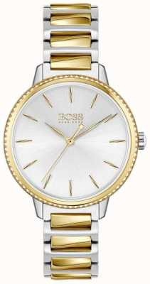 BOSS Assinatura feminina | pulseira de aço bicolor | mostrador prateado 1502568