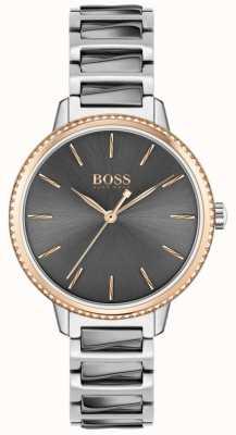 BOSS Assinatura feminina | pulseira de aço bicolor | mostrador cinza 1502569