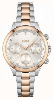BOSS Hera das mulheres | pulseira de aço bicolor | mostrador prateado 1502564