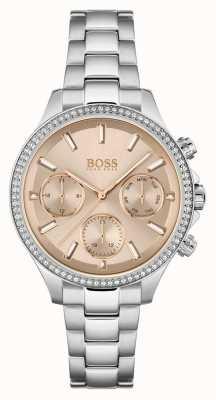 BOSS Hera das mulheres | pulseira de aço inoxidável | rosa dial 1502565