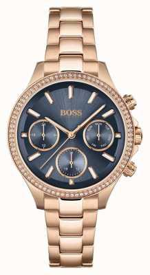 BOSS Hera das mulheres | pulseira de aço ouro rosa | mostrador azul 1502566